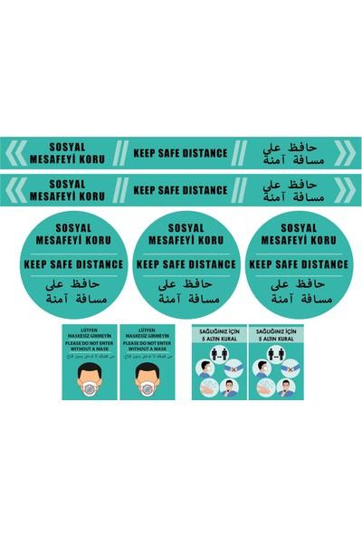 Fokshop Güçlü Yapışma Mukavemetli 3 Dilde Sosyal Mesafe Uyarı Sticker Etiket Turkuaz 9'lu