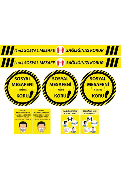 Fokshop Güçlü Yapışma Mukavemetli 3 Dilde Sosyal Mesafe Uyarı Sticker Etiket Sarı 9'lu