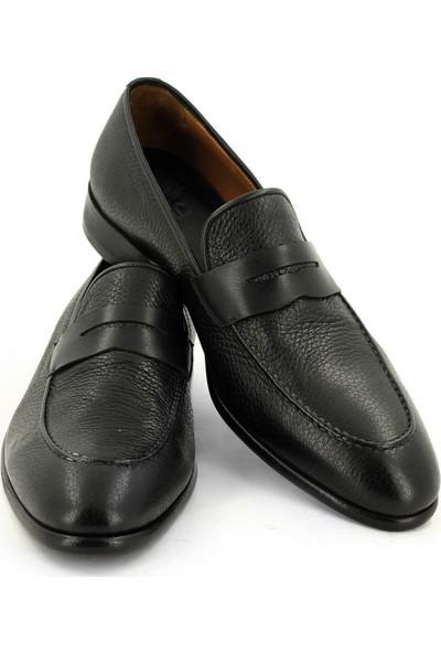 Temmo Bespoke El Yapımı Siyah Geyik Derisi Loafer Ayakkabı