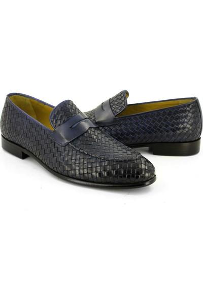 Temmo Bespoke El Yapımı Lacivert Örgü Loafer Ayakkabı
