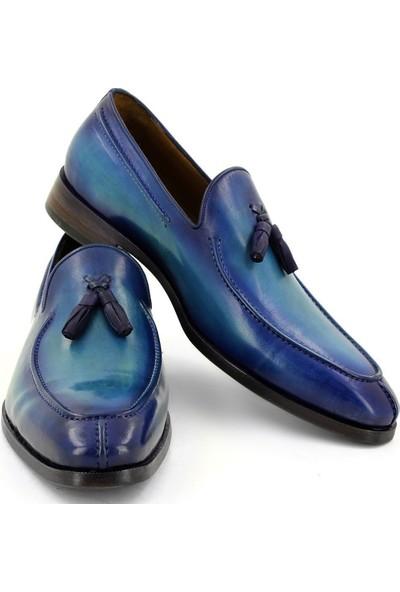 Temmo Bespoke Gök Mavisi Püsküllü Loafer Ayakkabı