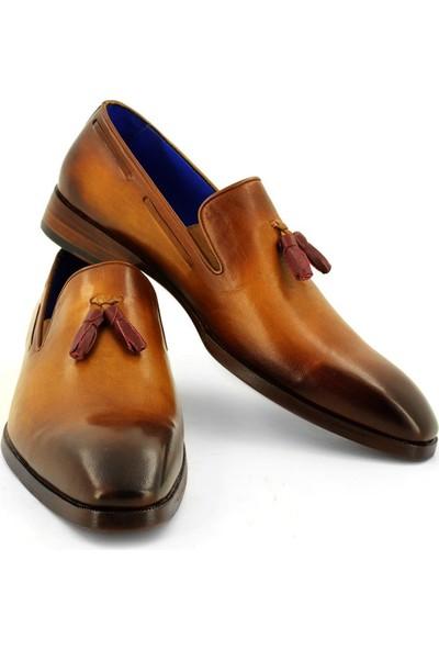 Temmo Bespoke El Yapımı Camel Püsküllü Loafer Ayakkabı
