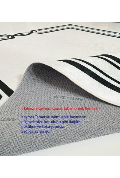 Devia Homes Natura Koleksiyonu Siyah Zemin Beyaz Renk Mermer Desenli Halı 100 x 200 cm