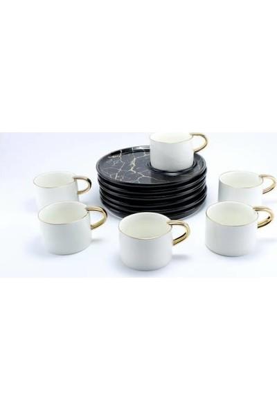 Deco Vien Yuvarlak Sunum Tabaklı 6 Kişilik Kahve Fincan Seti