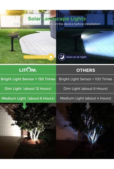 Lıtom 30 LED Güneş Enerjili Hareket Sensörü Peyzaj Spotları 2 Adet Soğuk Beyaz