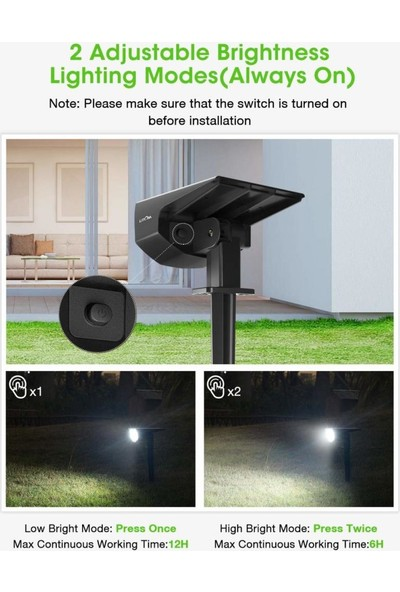 Lıtom Yükseltilmiş 12 LED Güneş Peyzaj Spot 2 Paket