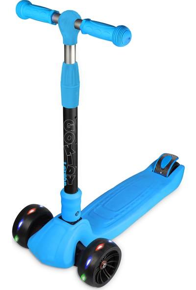 Gokidy Üç Tekerlekli Katlanır Işıklı Mavi Scooter