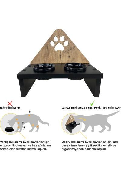 Odun Concept Seramik Kaseli Kedi Mama Kabı - Ahşap Desenli - Pati
