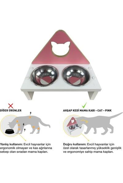 Odun Concept Kedi ve Küçük Irk Köpek Mama ve Su Kabı - Paslanmaz Çelik Kaseli - Pink Cat