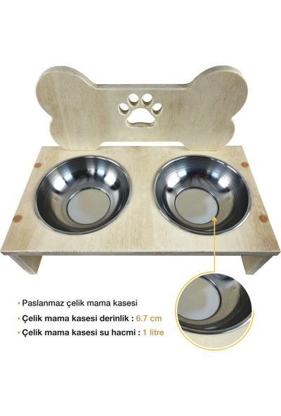 Odun Concept Dış Mekana Dayanıklı Köpek Mama ve Su Kabı - Doğal Ağaç - Kemik