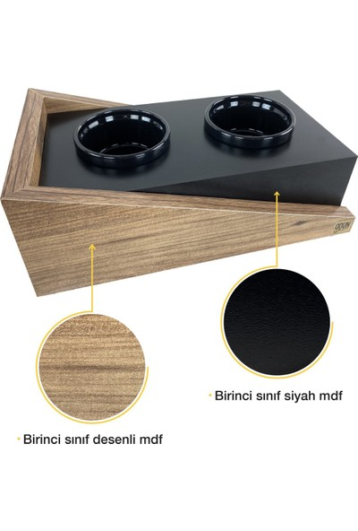Odun Concept Seramik Kaseli Kedi Mama ve Su Kabı - Ramp Seramik