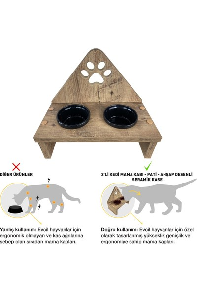 Odun Concept Seramik Kaseli Kedi Mama Kabı - Tamamen Ahşap Desenli - Pati