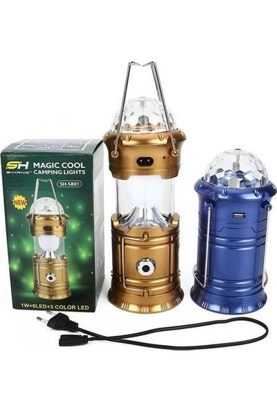 Evs Sihirli Magic Cool 6 Ledli 3 Renkli Disko Toplu Solarlı Usb'li Elektrikli Işıldak (Mavi)