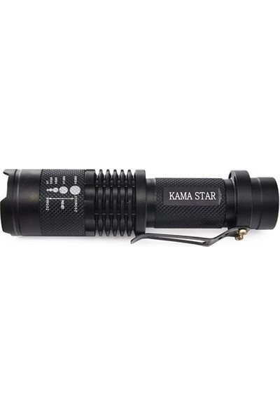 Kama Star Km 87 Polis Tipi Zoomlu Şarjlı Metal Dağ Kamp Cep Feneri