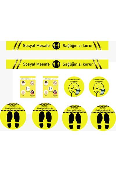 ELF Sosyal Mesafe Uyarı Sticker Seti Sarı