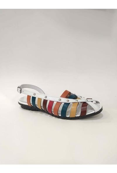 Bablisok 6203-1 İnce Taban Deri Renkli Bodrum Sandalet