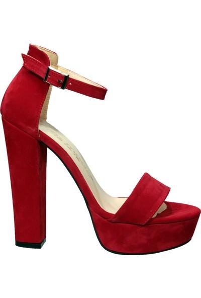 Uraz Kırmızı Abiye Yüksek Platform Topuk Ayakkabı