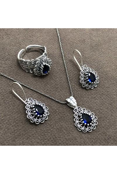 Midyat Nurtaş Gümüş Safir Taşlı Oksitli Telkari Kadın Gümüş Üçlü Set