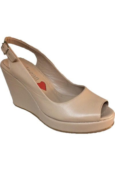Elegan Bej Deri Dolgu Topuk Rahat Ayakkabı