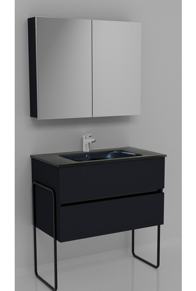Vallessi Due Banyo Dolabı 80 cm 2 Çekmeceli Koyu Antrasit Siyah Lavabo Siyah Ayak