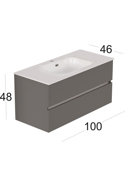Vallessi Due Lavabo Dolabı 100 cm 2 Çekmeceli Açık Meşe İnci Beyaz Lavabo