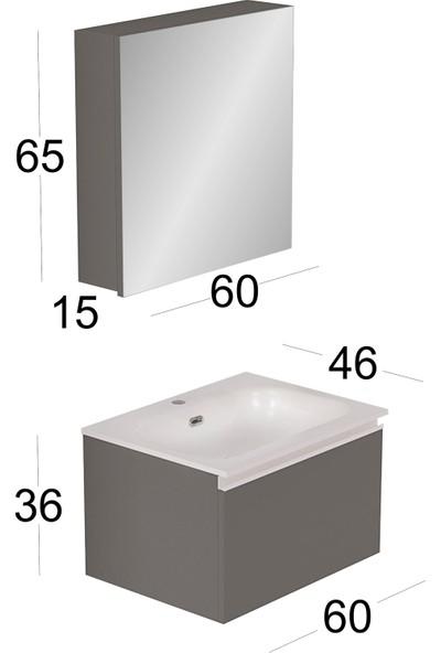 Vallessi Uno Banyo Dolabı 60 cm Açık Meşe - İnci Beyaz Lavabo
