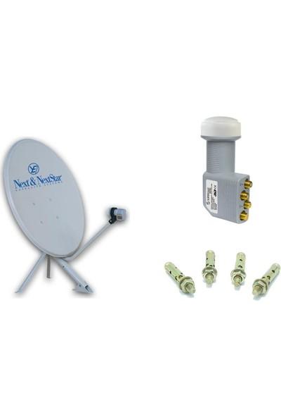 Next Televizyon Çanak Anten Takım 4K Full Hd Tv Uyumlu 75Cm Çanak Anten + Dörtlü Lnb