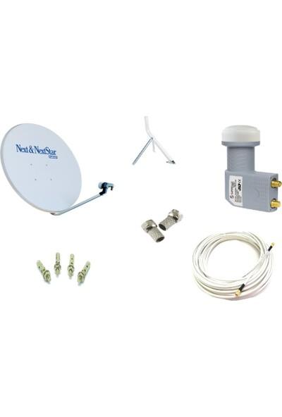 Next Televizyon Çanak Anten Takımı Full Set 4K Full Hd Tv Uyumlu 75Cm Çanak Anten + Çiftli Lnb + Kablo