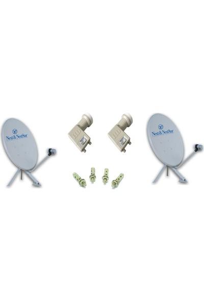 Next Televizyon Çift Çanak Anten Takım 4K Full Hd Tv Uyumlu 85Cm Çanak Anten + Çiftli Lnb