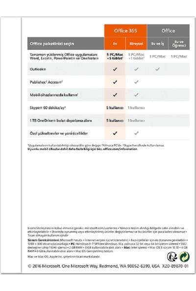 Microsoft Office 365 Ev Abonelik 32/64Bit Türkçe/İngilizce 5 Kullanıcı 1 Yıl