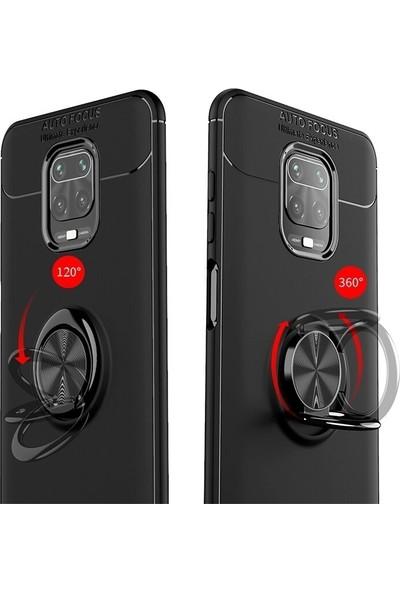 Teleplus Xiaomi Redmi Note 9 Pro Kılıf Ravel Yüzüklü Standlı Silikon Siyah + Nano Ekran Koruyucu