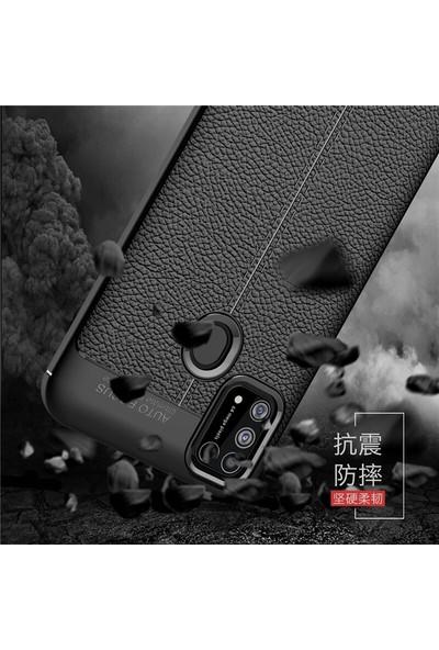 Teleplus Samsung Galaxy M31 Kılıf Deri Dokulu Silikon Lacivert + Nano Ekran Koruyucu