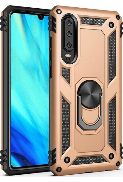 Teleplus Huawei P Smart Pro Kılıf Vega Yüzüklü Tank Kapak Gold