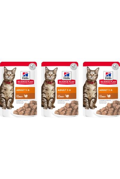Hill's Science Plan Pouch Hindili Yaş Yetişkin Kedi Maması – 3X85 gr