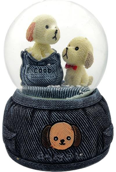 Mankan Şirin Tatlı Yavru Köpekler Işıklı Kar Küresi