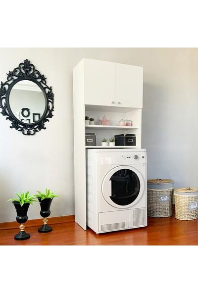 Maypa Mdf Çamaşır Makinesi Üstü Kapaklı Raflı Banyo Dolabı