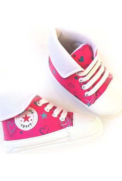 Leoncino Kız Bebek Desenli Pembe Converse İlk Adım Ayakkabısı