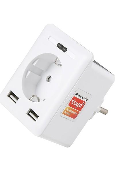 S-Link Swapp SL-04 10A Akım Korumalı Priz 2 USB 2.4 Ghz Wifi TUYA Destekli
