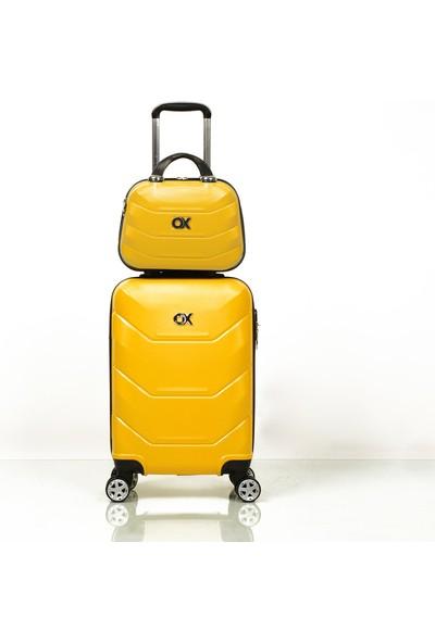 Ox Exclusive 2 Li Sarı Valiz Seti ( Kabin + Makyaj )