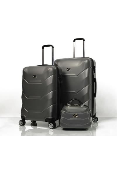 Ox Exclusive 3 Lü Antrasit Valiz Seti (Büyük+Orta+Makyaj)