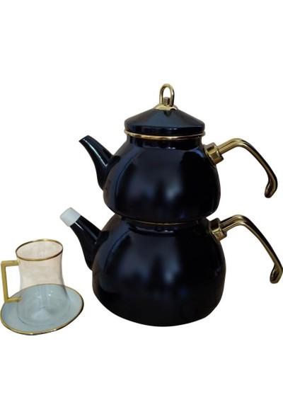 Qedi Emaye Çaydanlık Gold Siyah