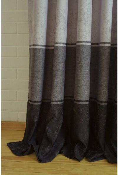 Massarelli Fon Perde Üç Renk Siyah-Gri 1-2,5 Orta Sık Pile 60 x 260 cm
