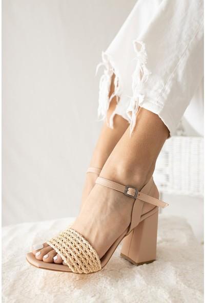 Limoya Addison Nud Örgü Bantlı Kalın Topuklu Kemerli Sandalet