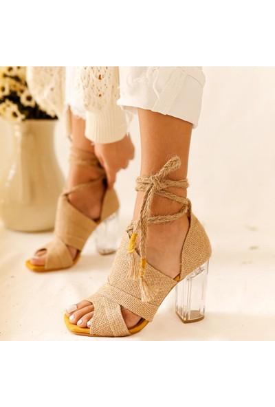 Limoya Addyson Hasırlı Hardal Süet Şeffaf Topuklu Bilekten Bağlamalı Sandalet