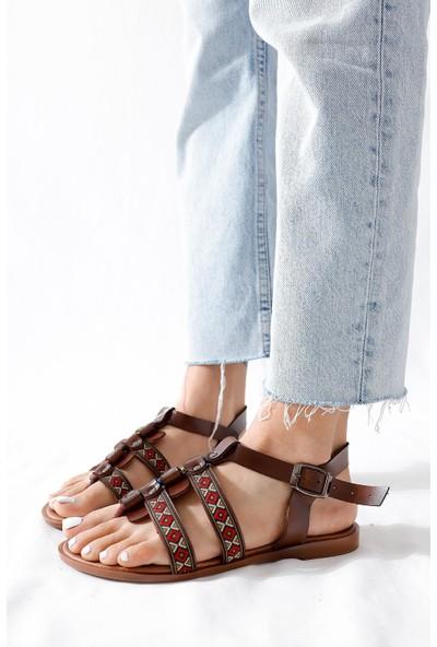 Limoya Gabrielle Taba Parmak Arası Ayarlanabilir Düz Hakiki Deri Sandalet
