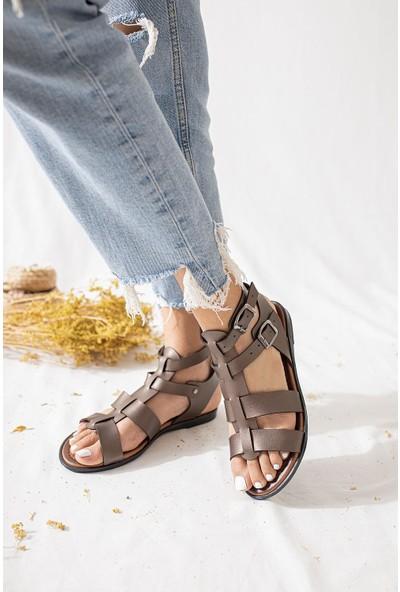 Limoya Angelica Platin Hakiki Deri Kafesli Ayarlanabilir Sandalet