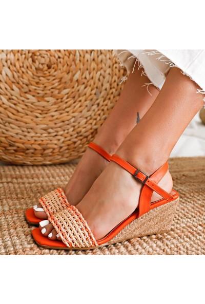 Limoya Ireland Portakal Örgü Bantlı Hasır Dolgu Topuklu Sandalet