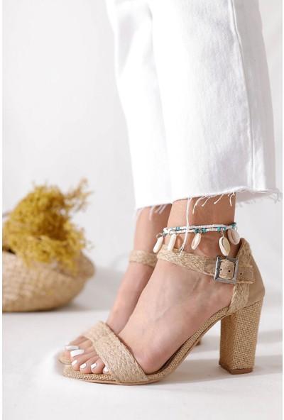 Limoya Blanca Kum Hasır Tek Bantlı Topuklu Hasırlı Sandalet