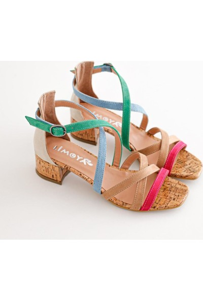 Limoya Malaya Ten Yeşil Mavi Kum Fuşya Süet Multi Alçak Topuklu Sandalet