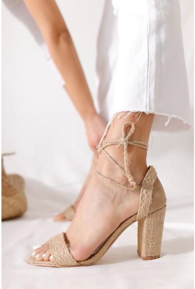 Limoya Tori Ten Tek Bantlı Bilekten Bağlamalı Topuklu Hasır Sandalet